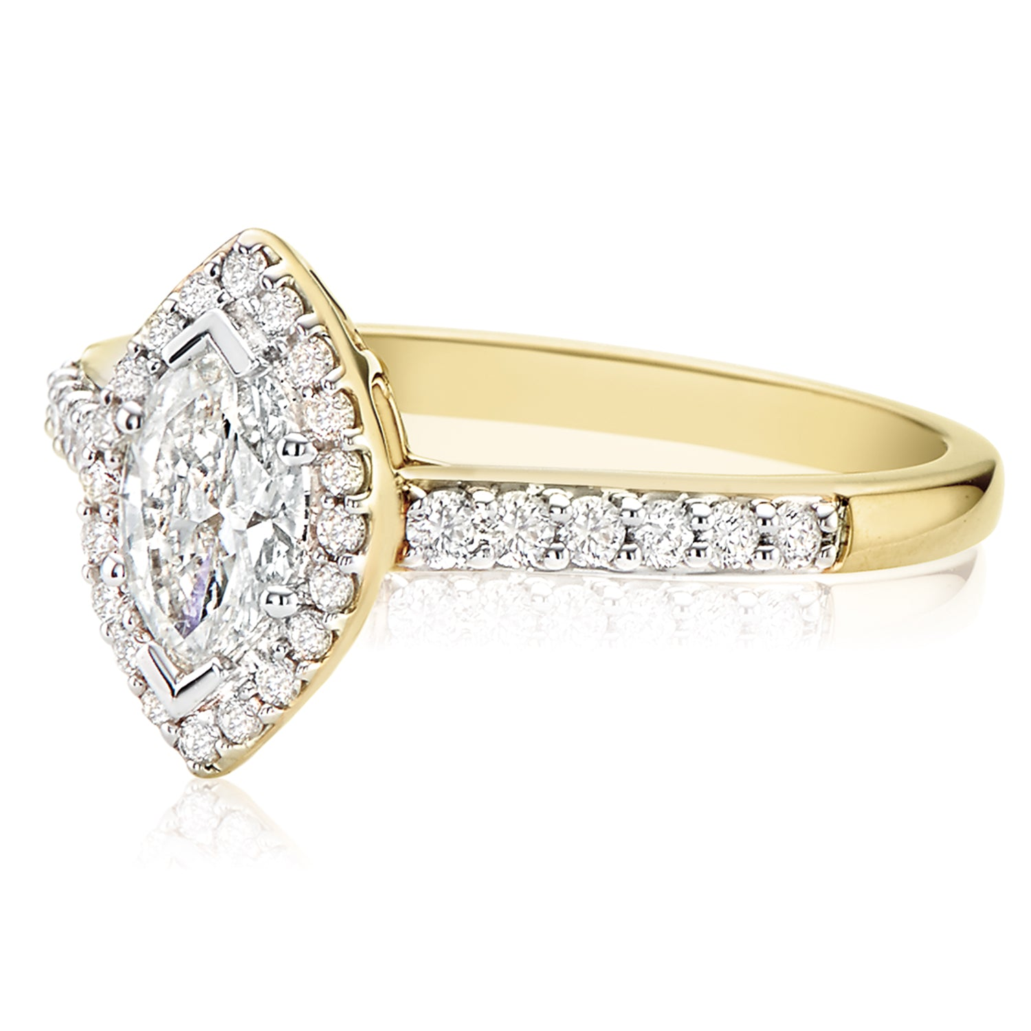 18ct Yellow Gold Marquise & Round Brilliant Cut with 1 CARAT tw of Diamonds