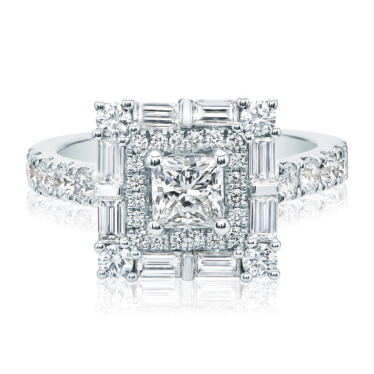 Rand 18ct White Gold Princess, Round Brilliant & Baguette Cut with 1 1/2 CARAT tw of Diamonds