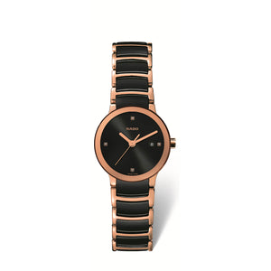 RADO Centrix small watch, black dial with 4 dot diamonds on a rose gold PVD bracelet with black high tech ceramic middle links R30555712