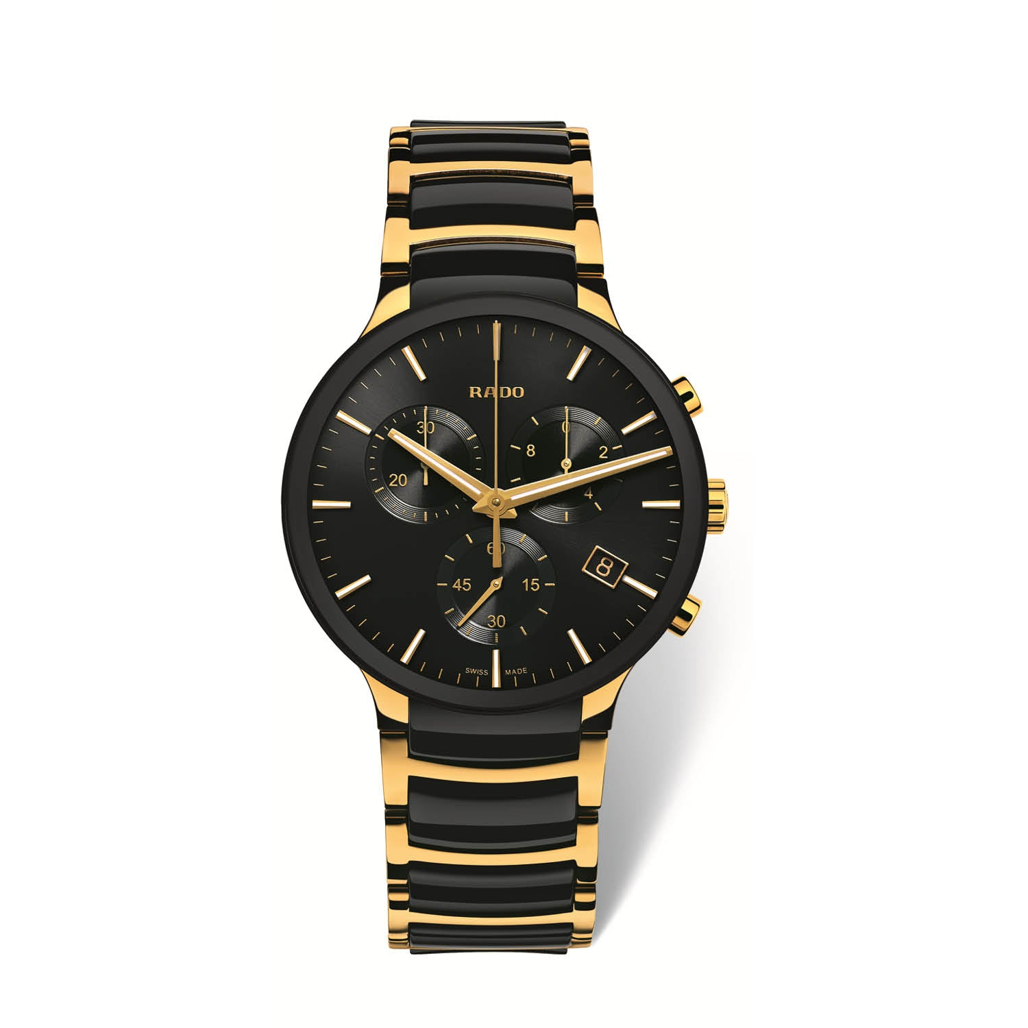 RADO Centrix Xlarge watch, yellow gold PVD bracelet with black high tech ceramic middle links, Chronograph R30134162