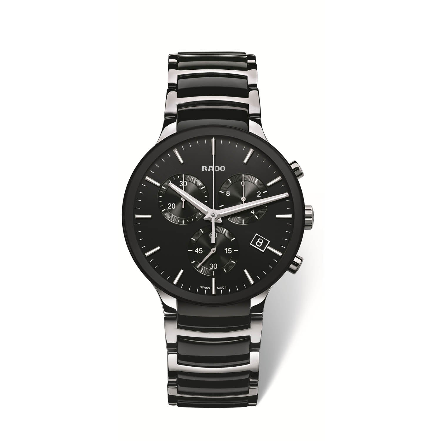 RADO Centrix xlarge watch, black dial with chronograph on stainless steel bracelet with black high tech ceramic middle links R30130152