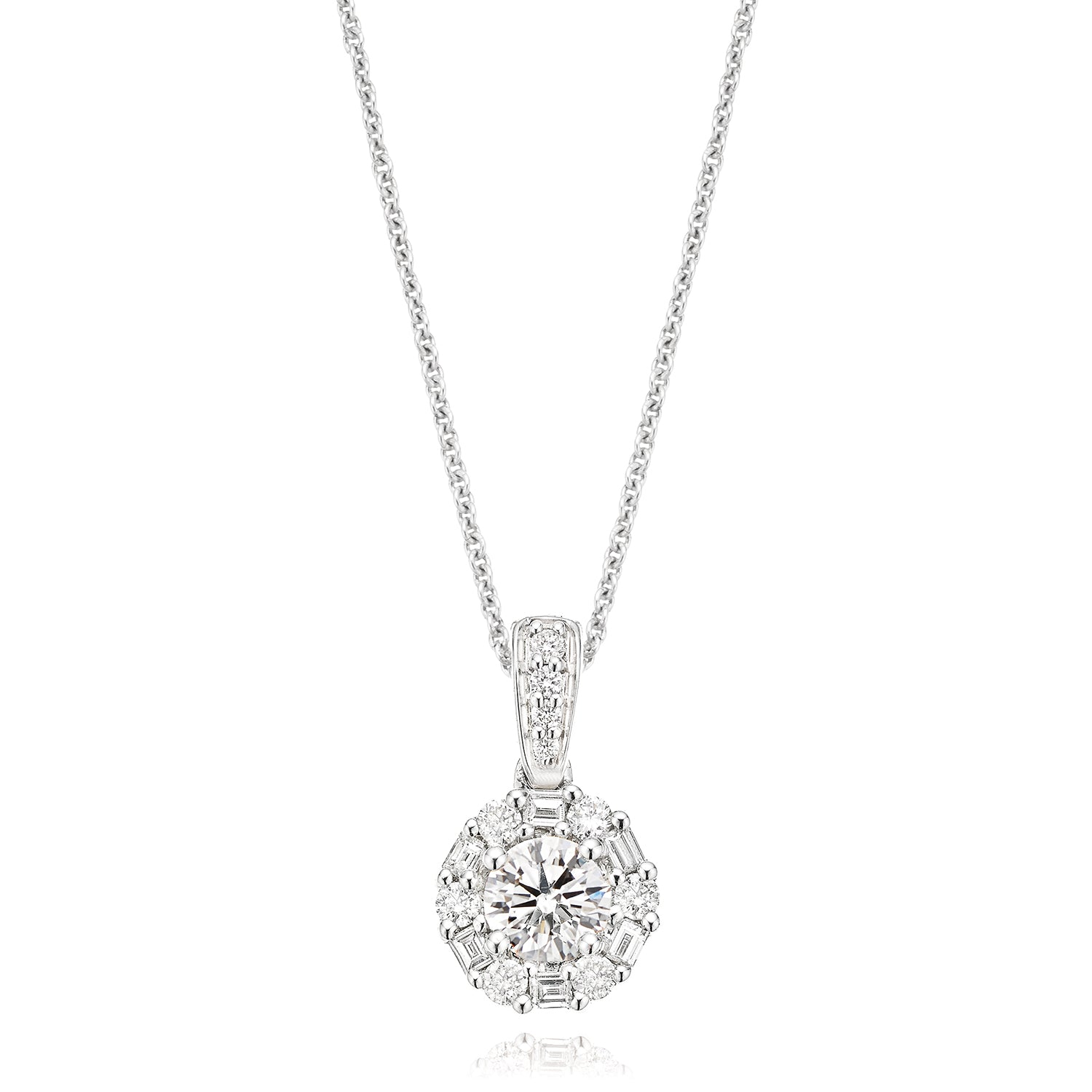 Rand 18ct White Gold Round Brilliant Cut with 0.45 CARAT tw of Diamond Pendant