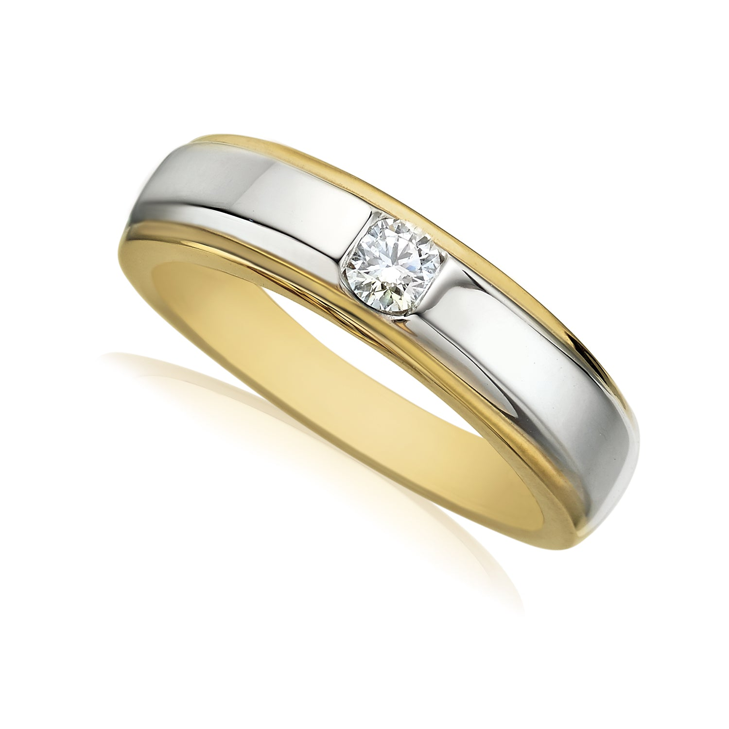 Rand 18ct Two Tone Gold Round Brilliant Cut with 1/4 CARAT tw of Diamonds