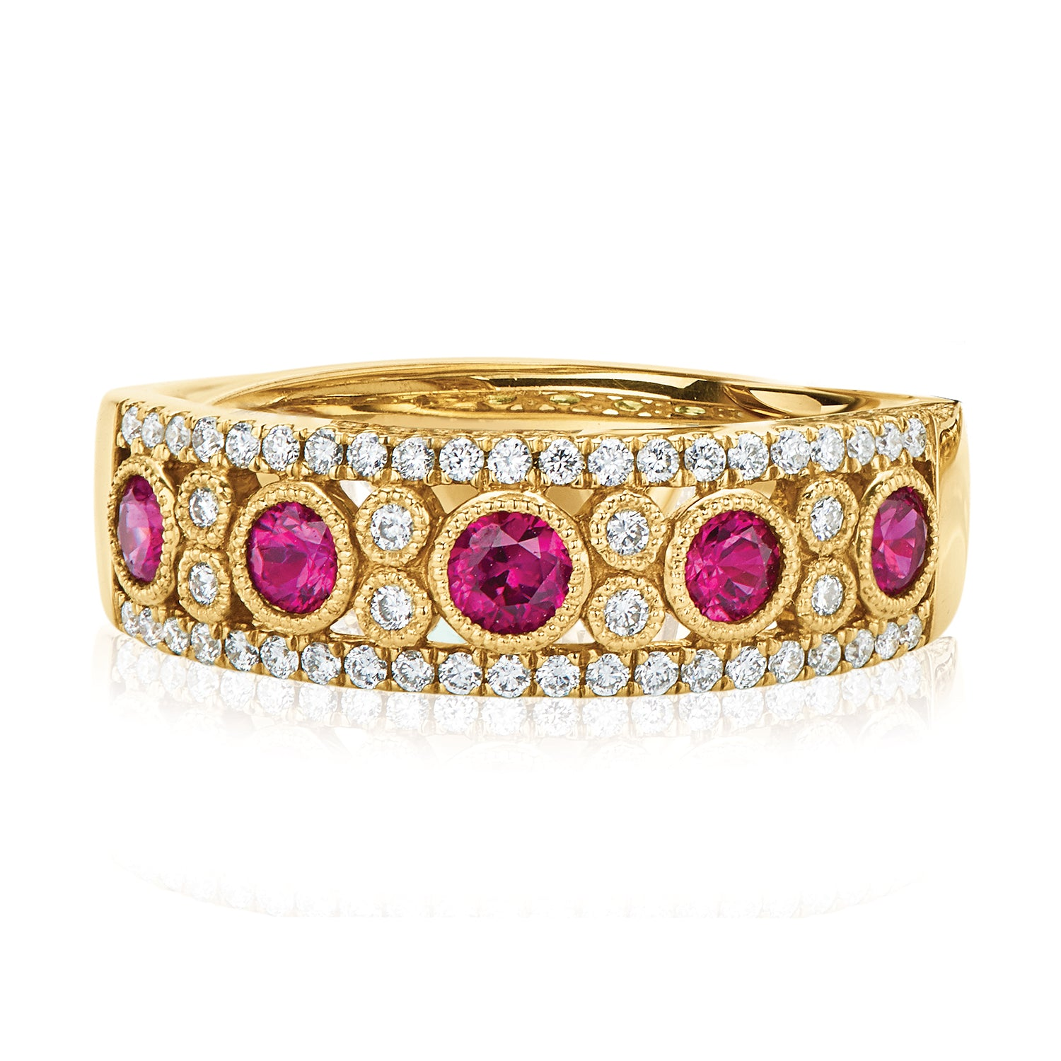 18ct Yellow Gold Round Brilliant Cut Ruby with 1/4 CARAT tw of Diamonds