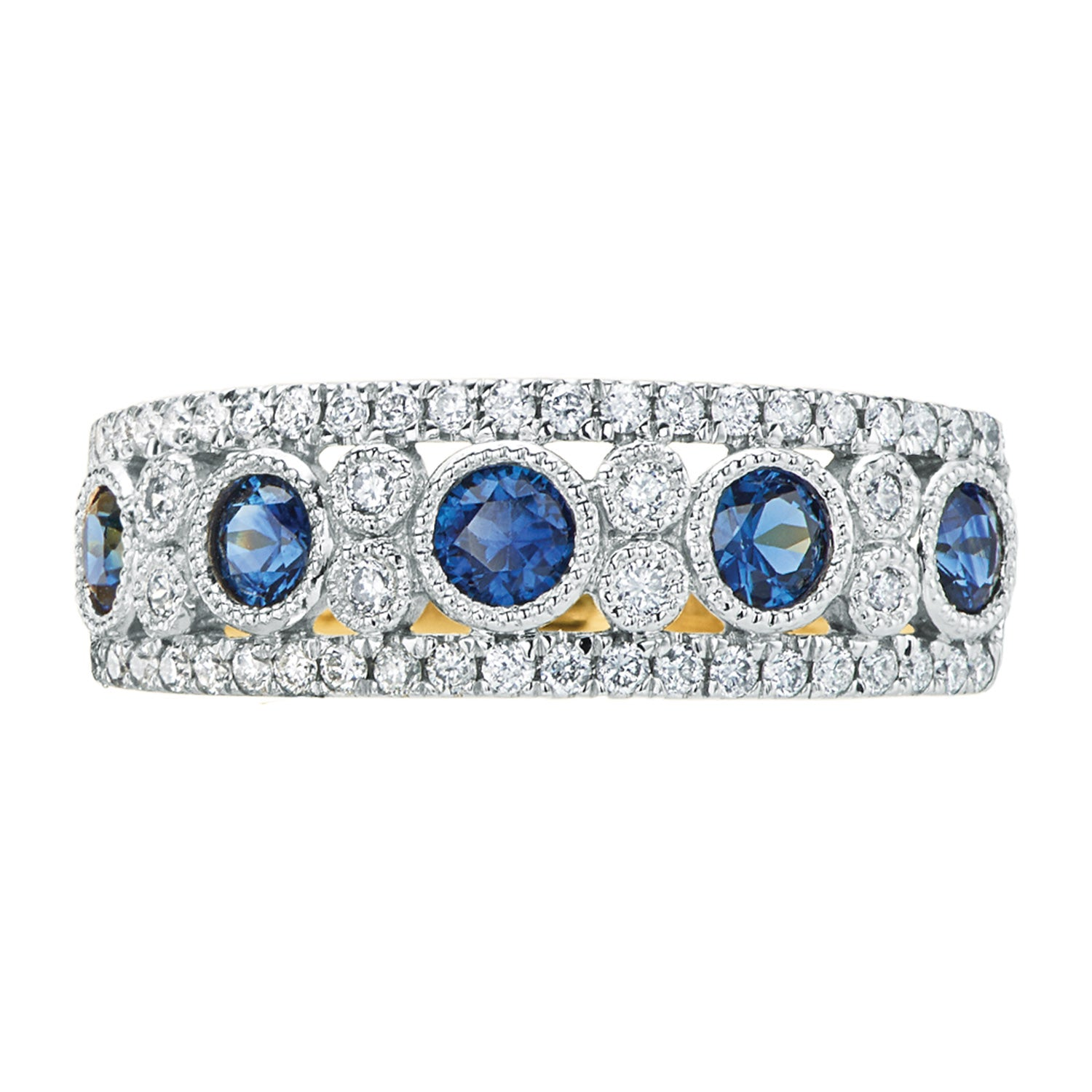 18ct Two Tone Gold Round Brilliant Cut Sapphire with 1/4 CARAT tw of Diamonds
