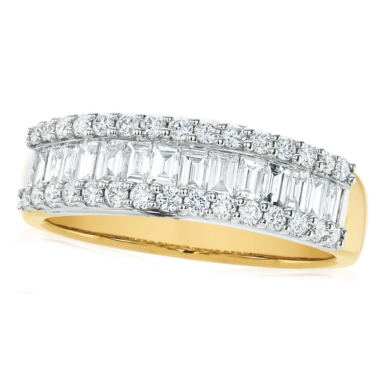 18ct Two Tone Gold Round Brillant & Baguette Cut with 1 CARAT tw of Diamonds