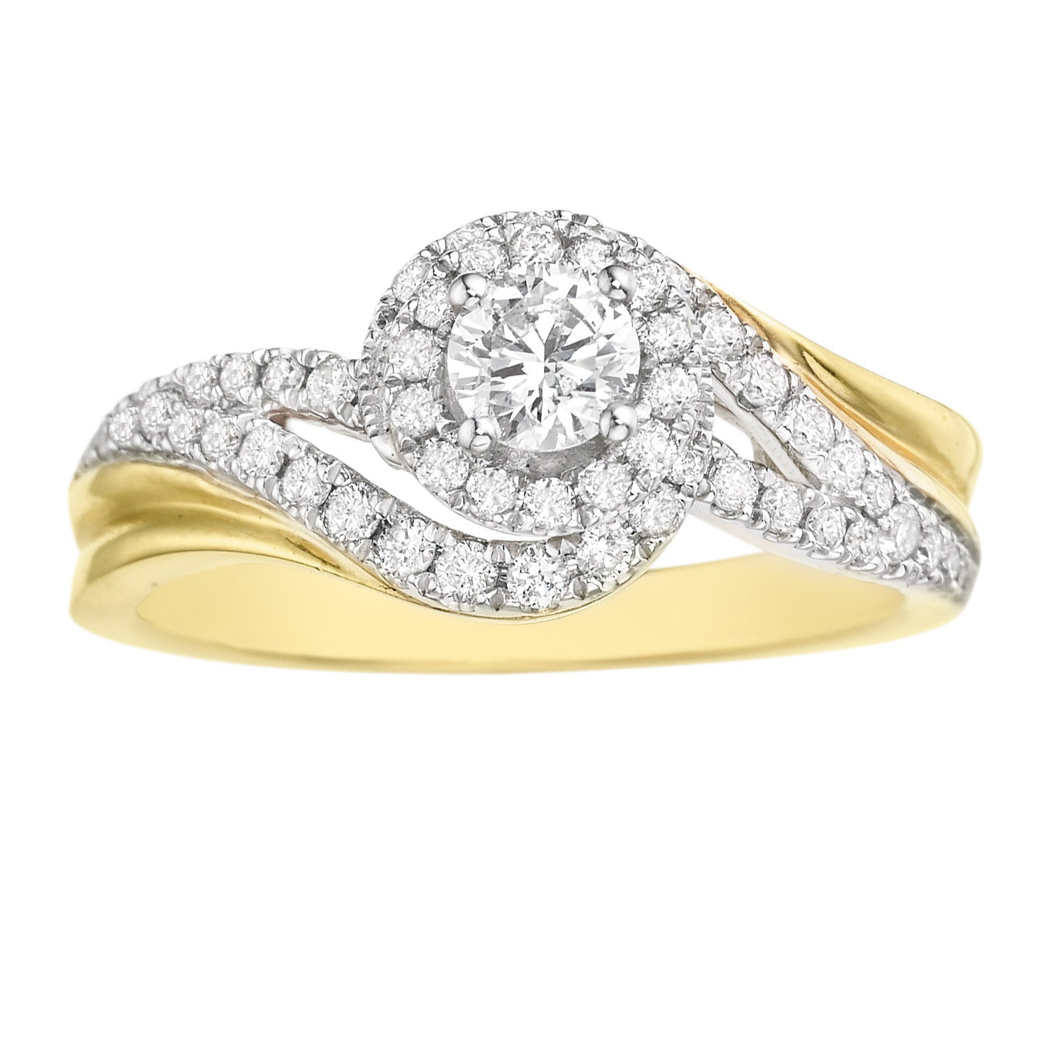 14ct Yellow Gold Round Brilliant Cut with 3/4 CARAT tw of Diamonds