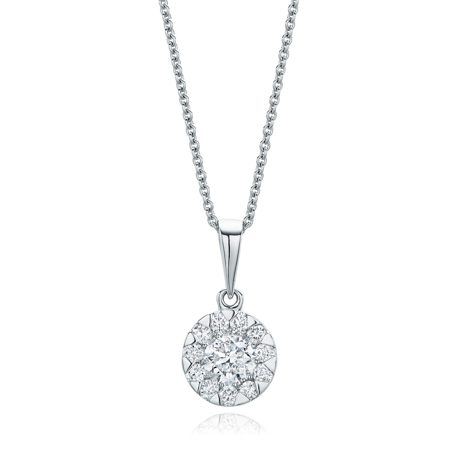 18ct White Gold Round Brilliant Cut with 0.74 CARAT tw of Diamond Pendant