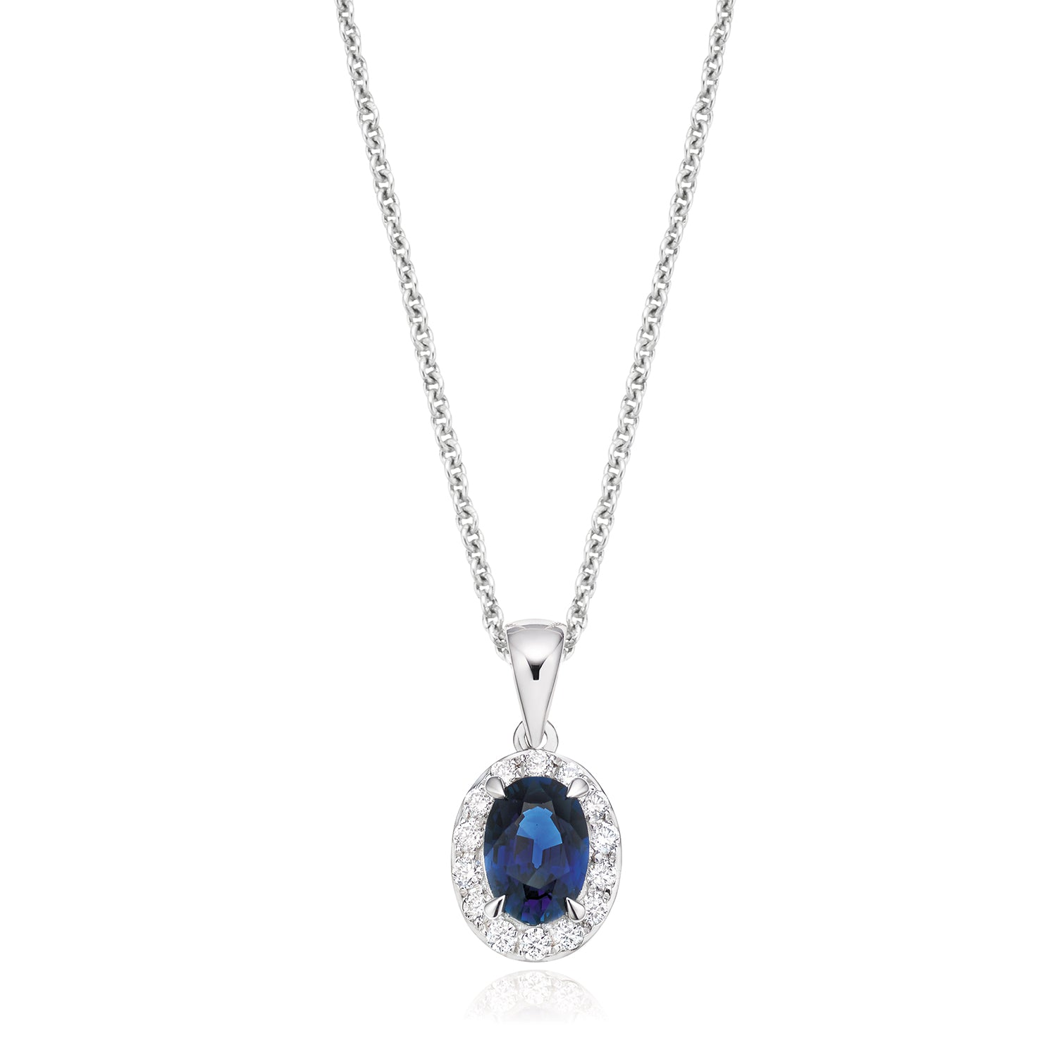 18ct White Gold Oval Cut Sapphire with 0.20 CARAT tw of Diamond Pendant