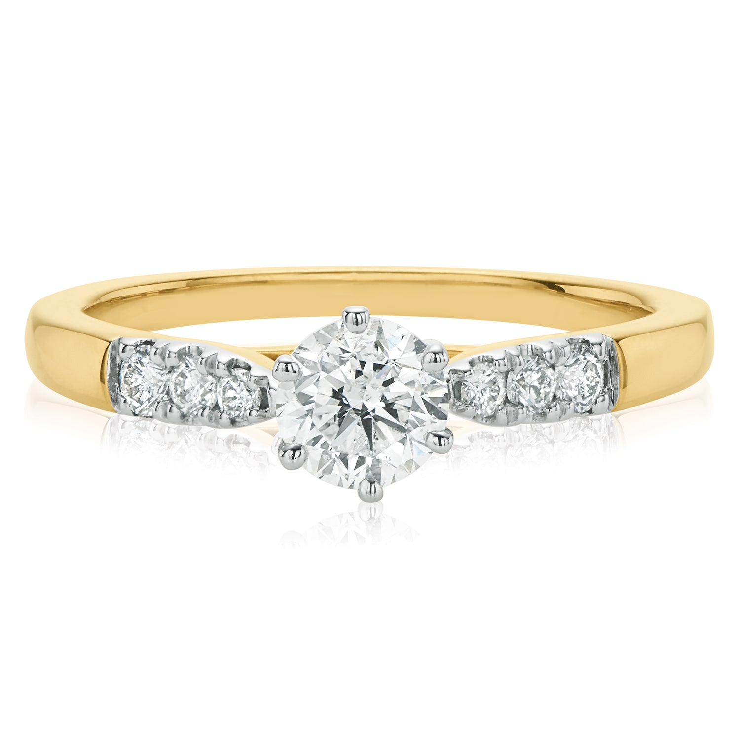 18ct Yellow Gold Round Brilliant Cut with 3/4 CARAT tw of Diamonds