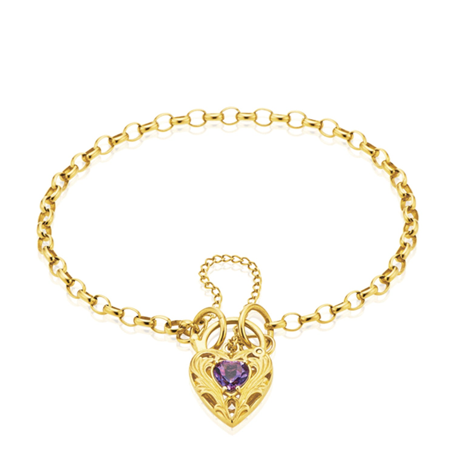 9ct Yellow Gold 19cm Belcher with Amethyst set Padlock