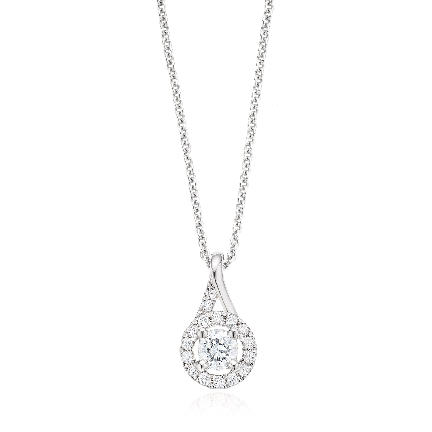 Platinum Round Brilliant Cut with 0.34 CARAT tw of Diamond Pendant