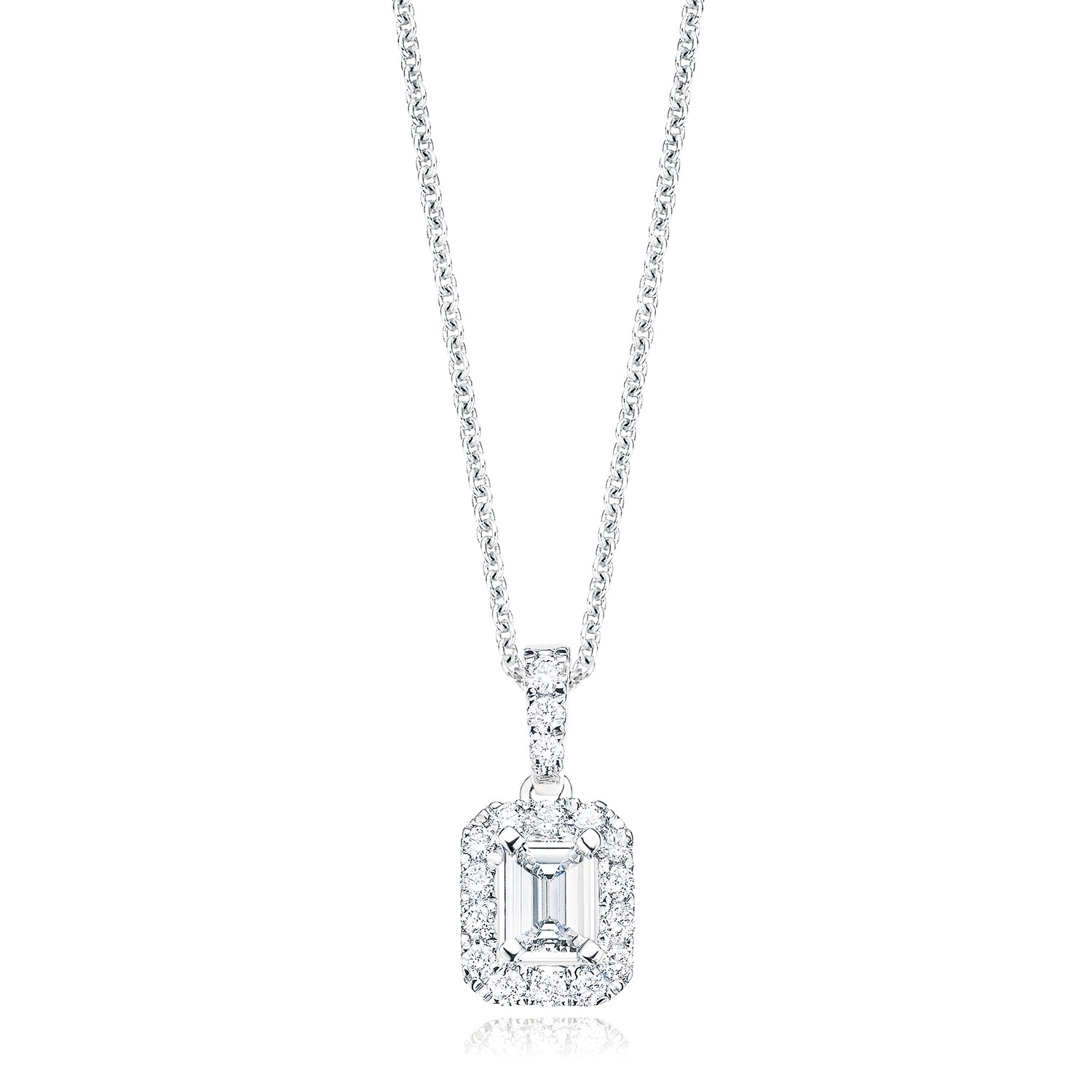 Platinum Emerald & Round Brilliant Cut with 0.55 CARAT tw of Diamond Pendant