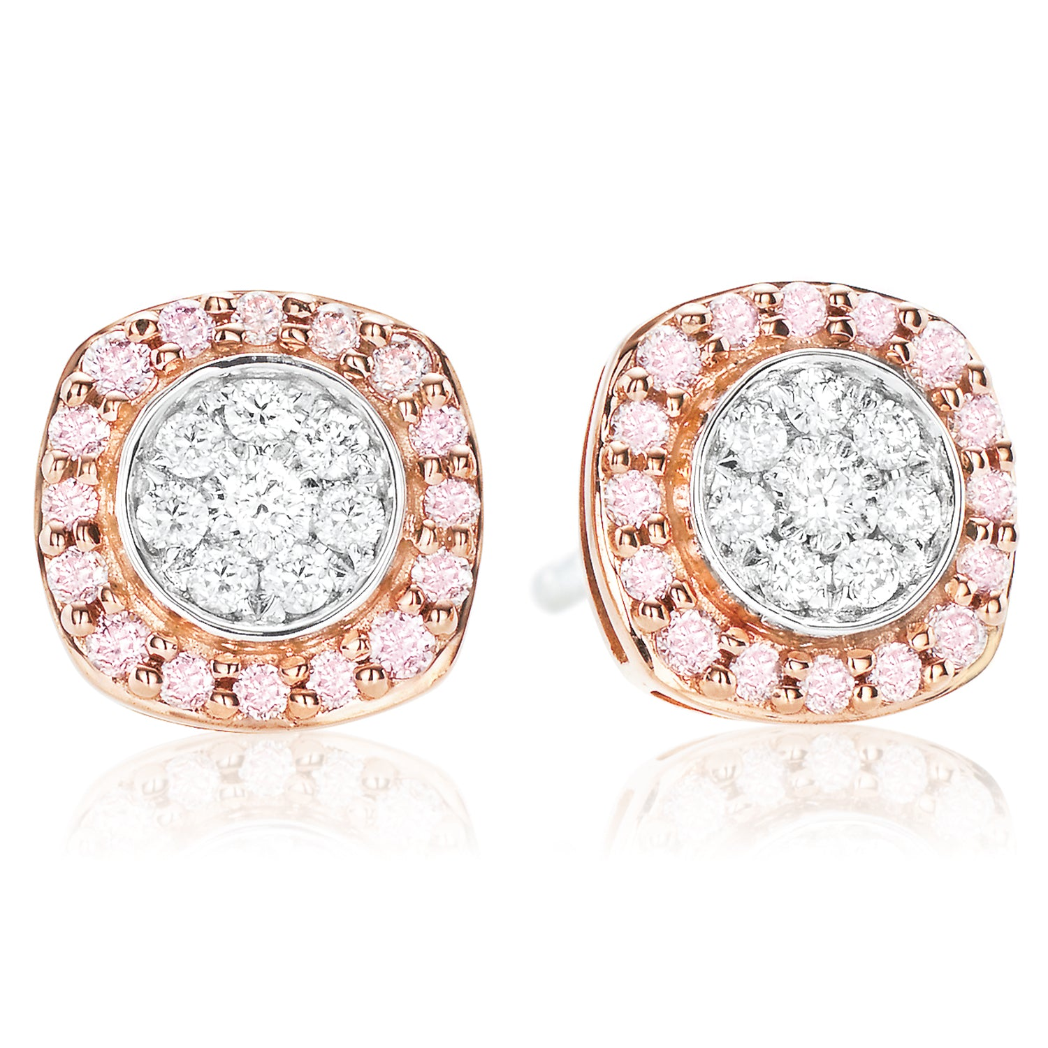 Pink Diamonds 9ct Rose & White Gold Round Brilliant Cut with 1/4 CARAT tw of Diamonds