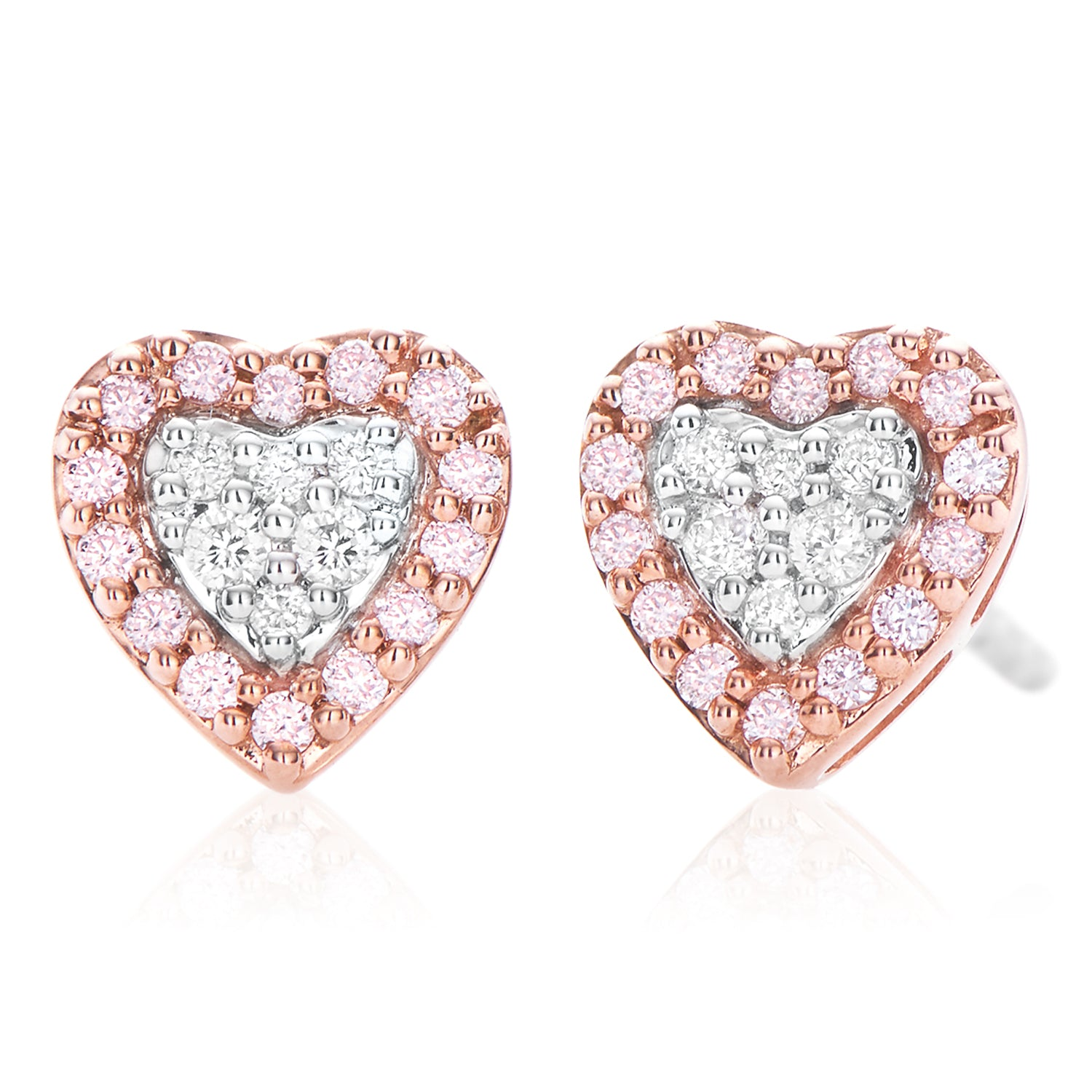 Pink Diamonds 9ct Rose & White Gold Round Brilliant Cut with 0.17 CARAT tw of Diamonds