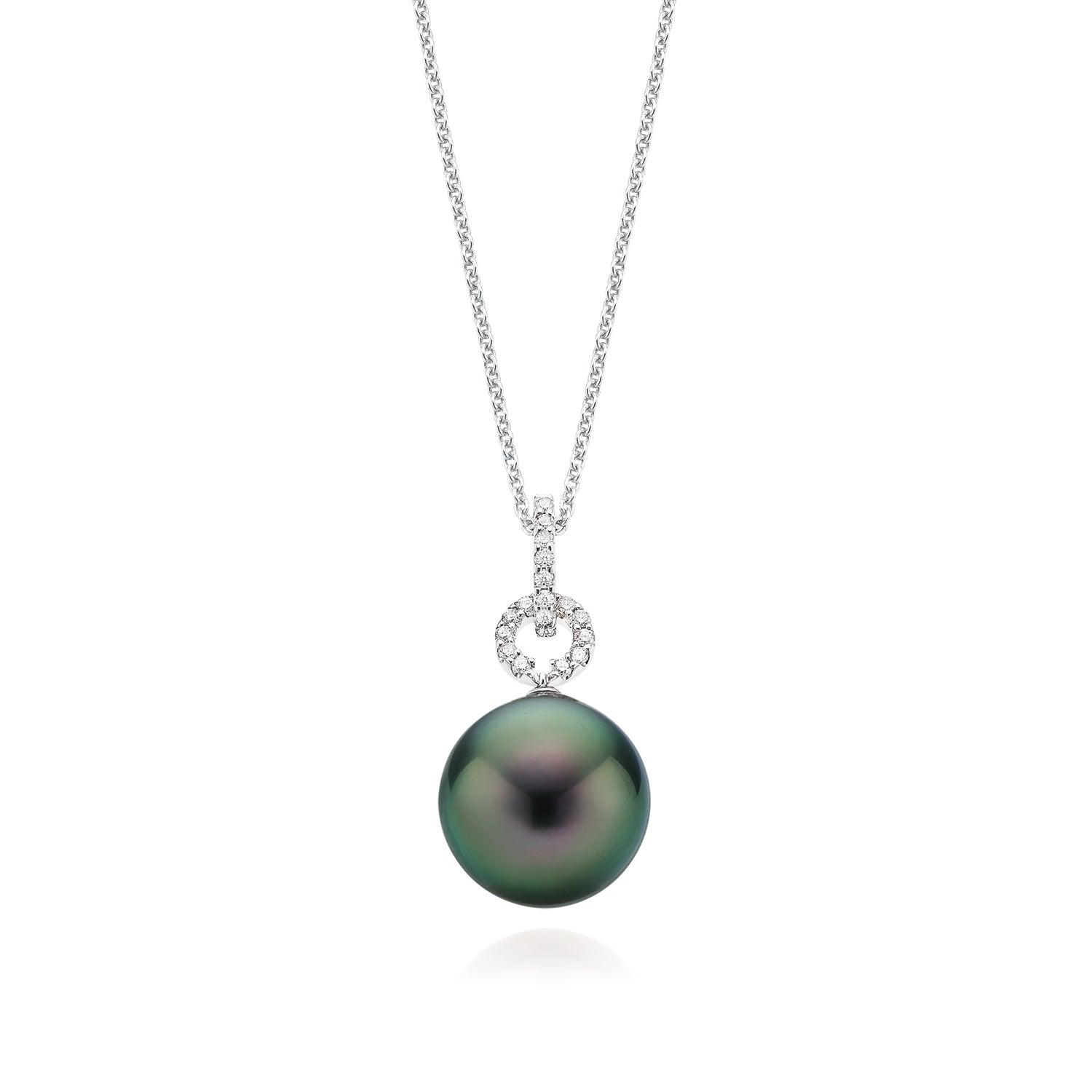 18ct White Gold Tahitian Pearl with 0.11 CARAT tw of Diamond Pendant