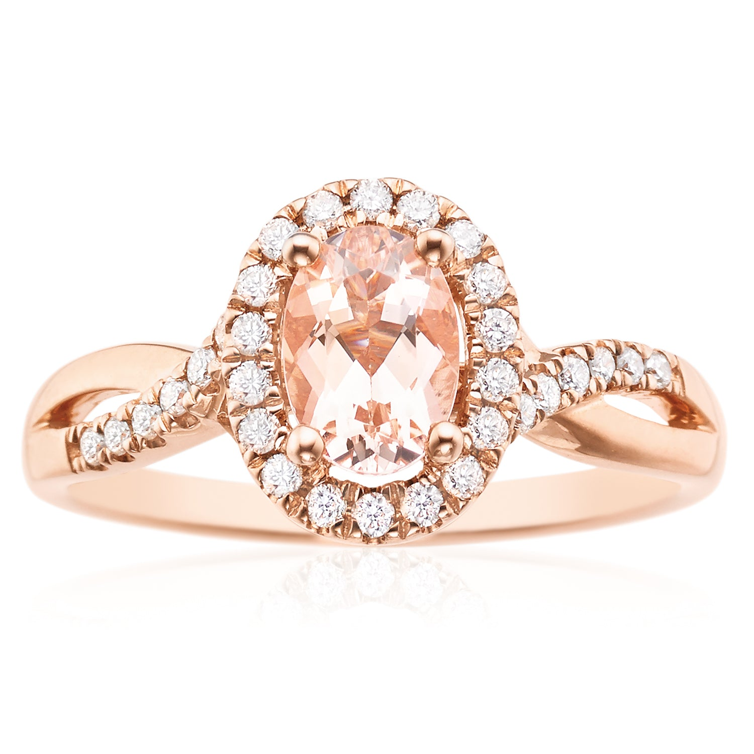 9ct Rose Gold Oval Cut Morganite with 0.22 CARAT tw of Diamonds