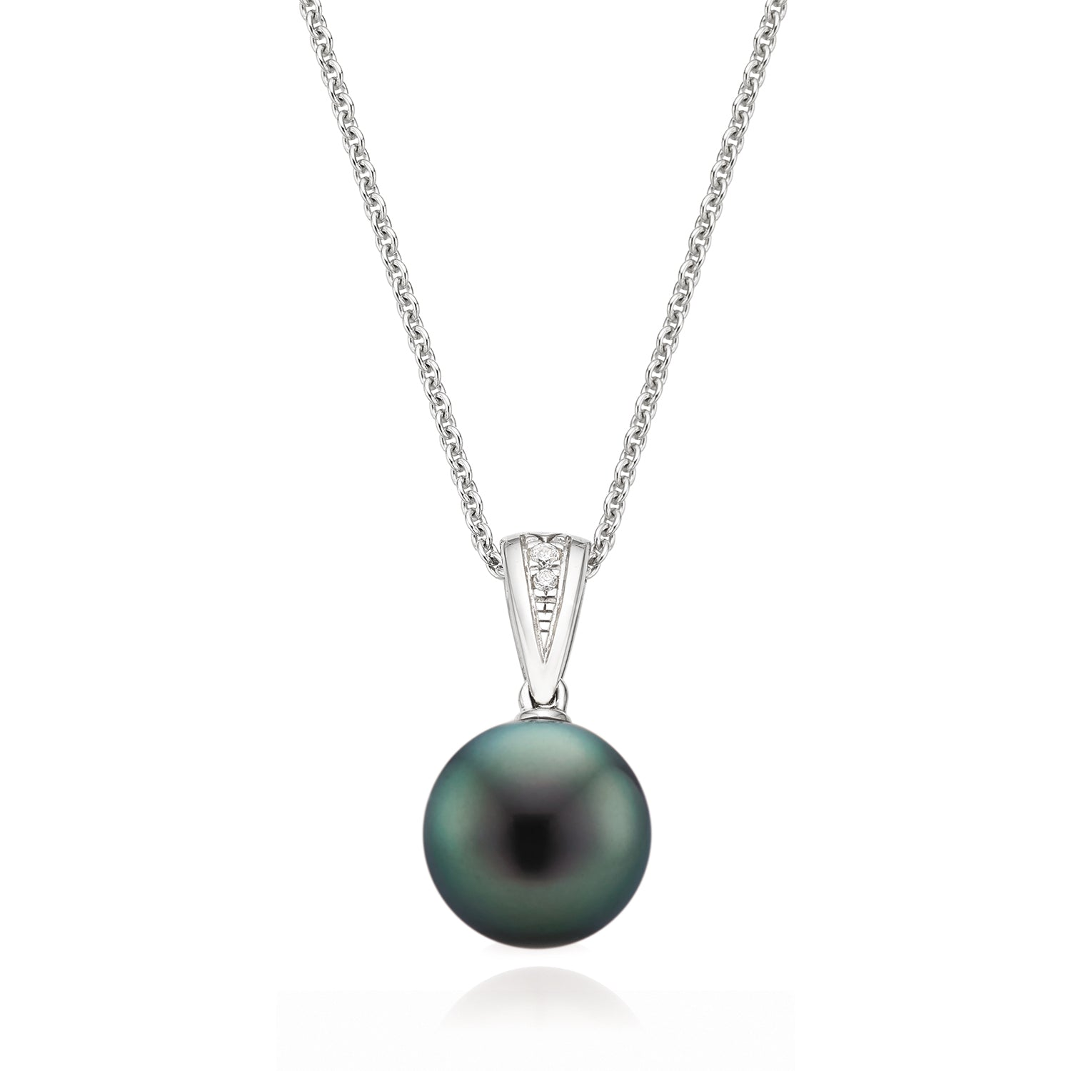 18ct White Gold Tahitian Pearl Diamond Pendant Set