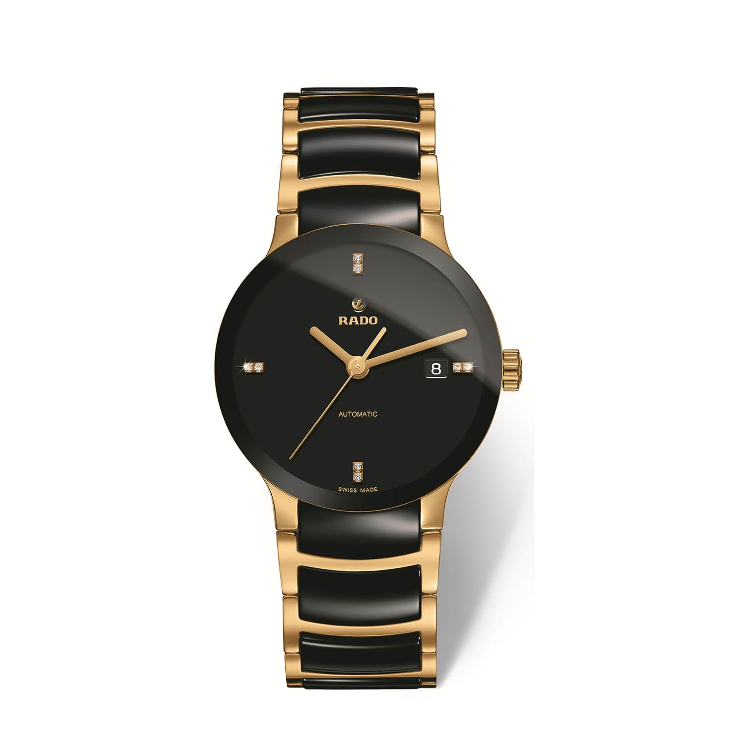 RADO Centrix large watch, black dial with 8 diamonds on yellow PVD bracelet with black high tech ceramic middle links R30035712