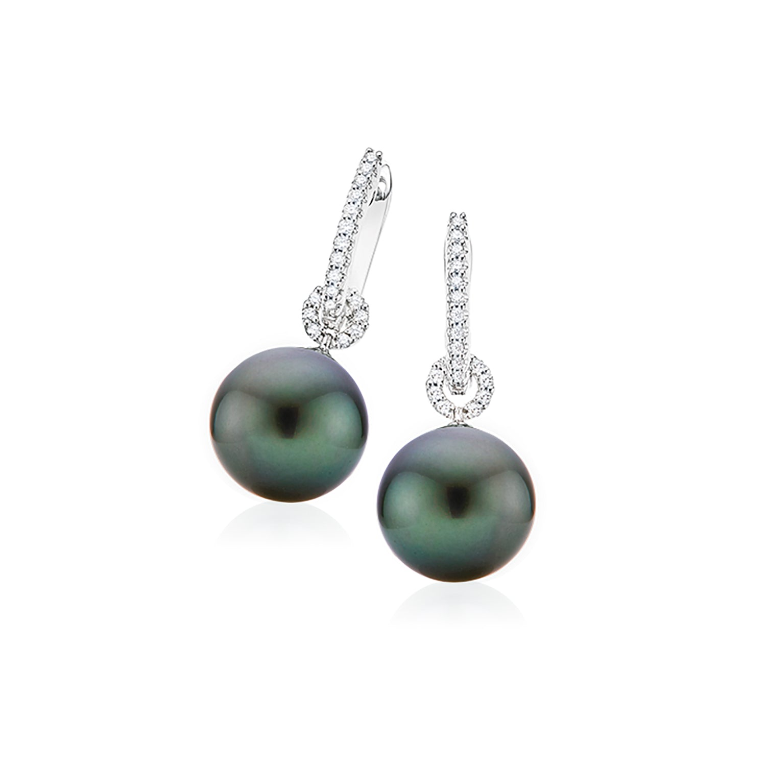 18ct White Gold Tahitian Pearl with 0.20 CARAT tw of Diamonds