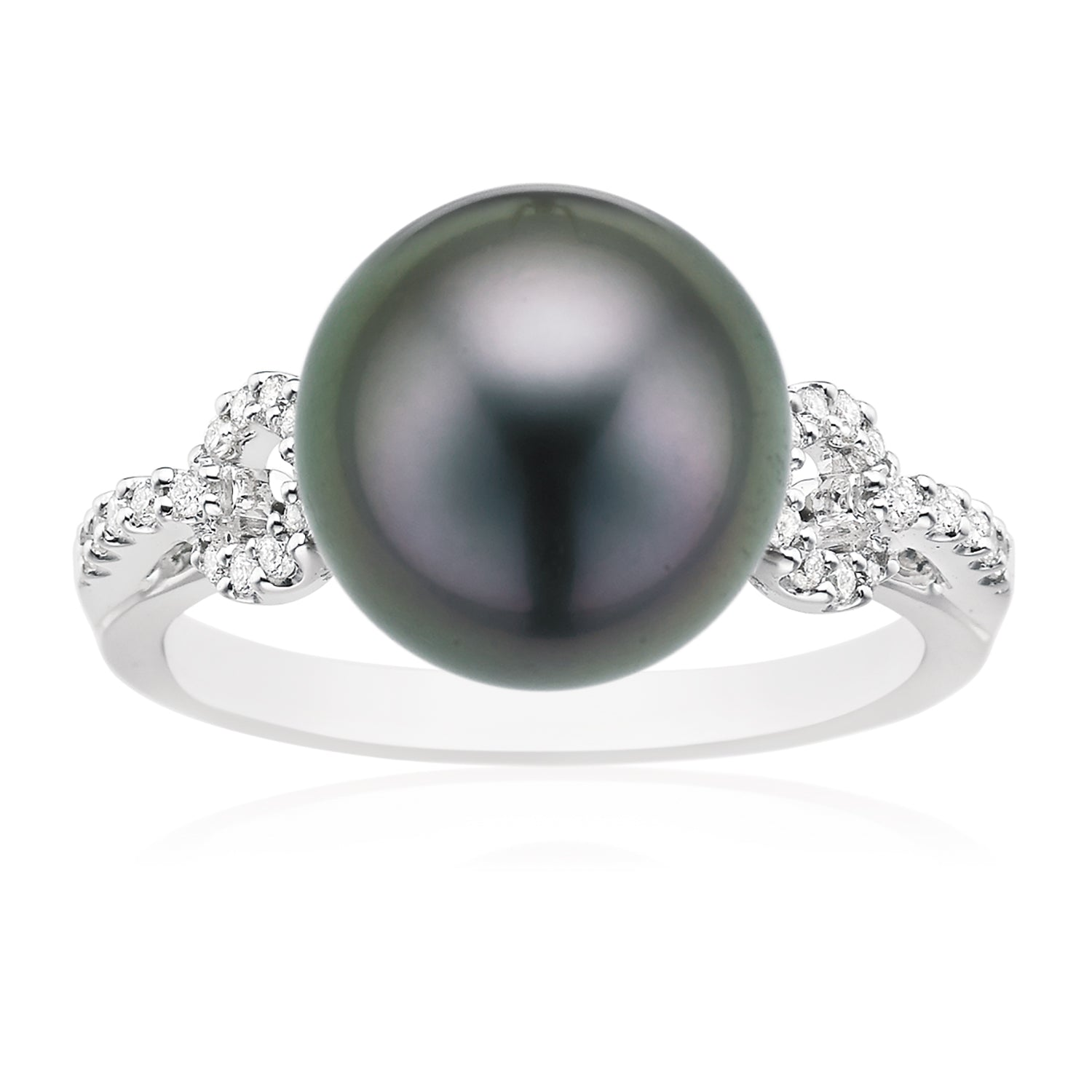 18ct White Gold Tahitian Pearl with 0.14 CARAT tw of Diamonds