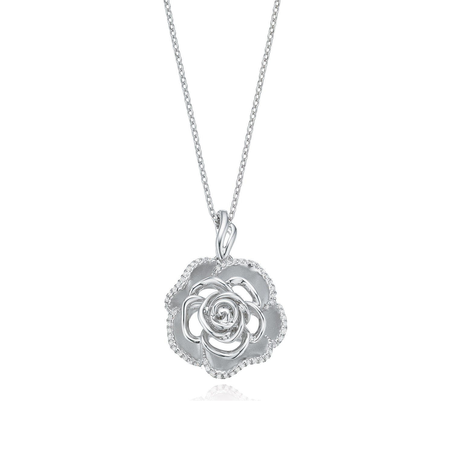 Vera Wang Love Sterling Silver Round Brilliant Cut with 0.20 CARAT tw of Diamond Pendant