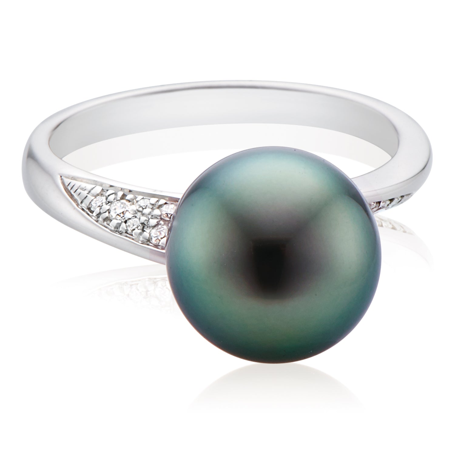 18ct White Gold Tahitian Pearl with 0.06 CARAT tw of Diamonds