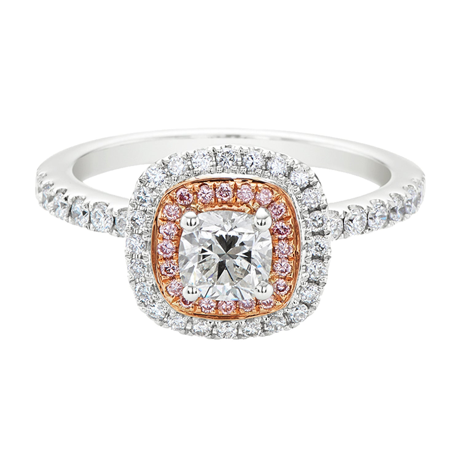 Rand 18ct Rose & White Gold Princess & Round Brilliant Cut with 1.05 CARAT tw of Diamonds