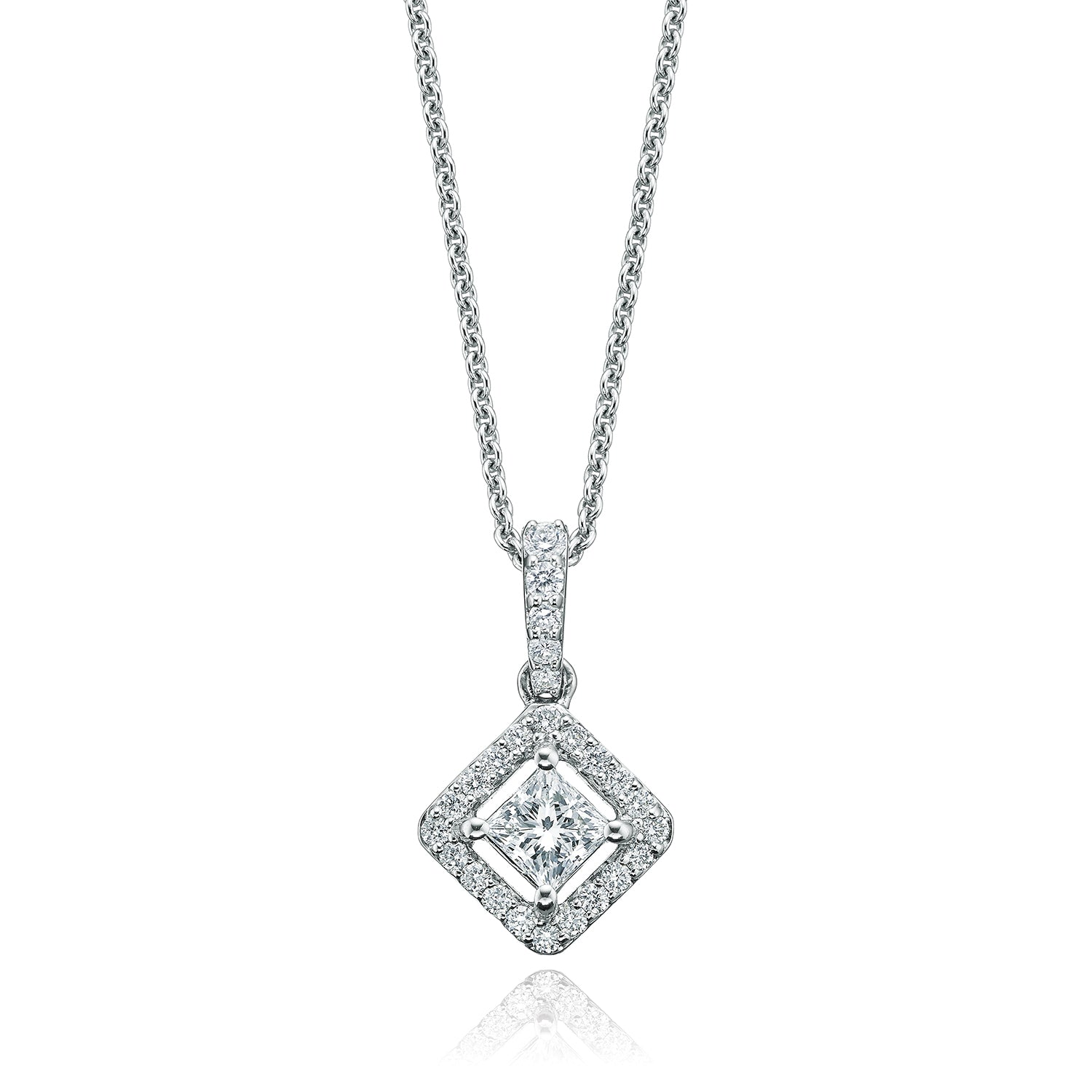 Rand 18ct White Gold Round Brilliant Cut with 1/2 CARAT tw of Diamond Pendant