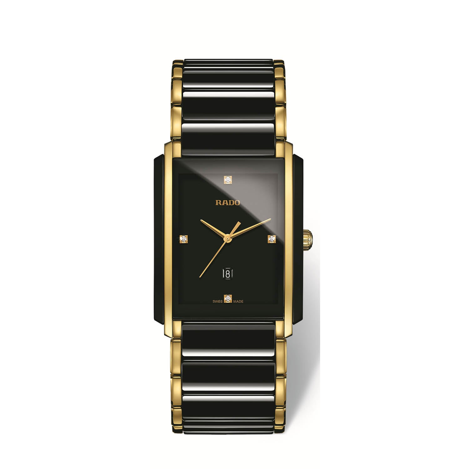RADO Integral Large watch, Black High-Tech Ceramic with yellow PVD and diamonds R20204712