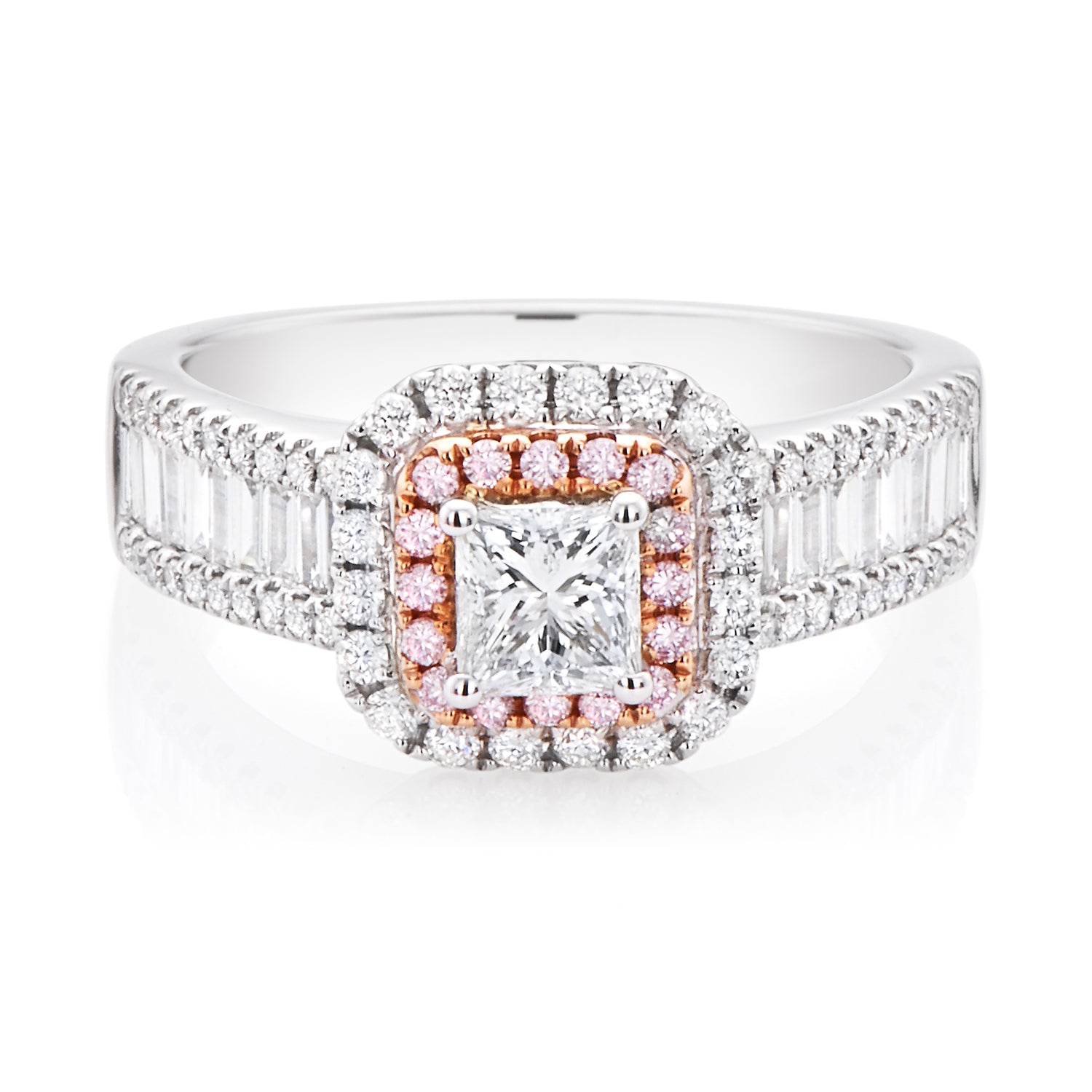 Rand 18ct Rose & White Gold Princess, Round Brilliant & Baguette Cut with 1.25 CARAT tw of Diamonds