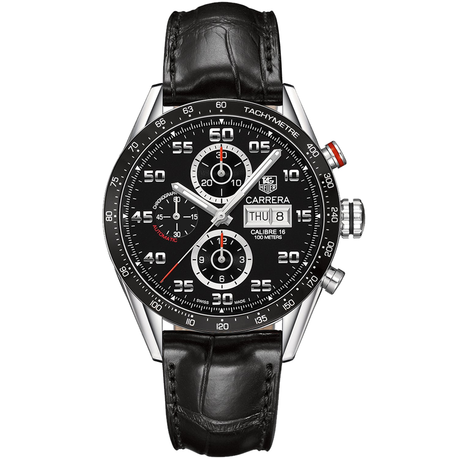TAG Heuer Carrera Calibre 16 Automatic Mens Black Alligator Chronograph CV2A1R.FC6235