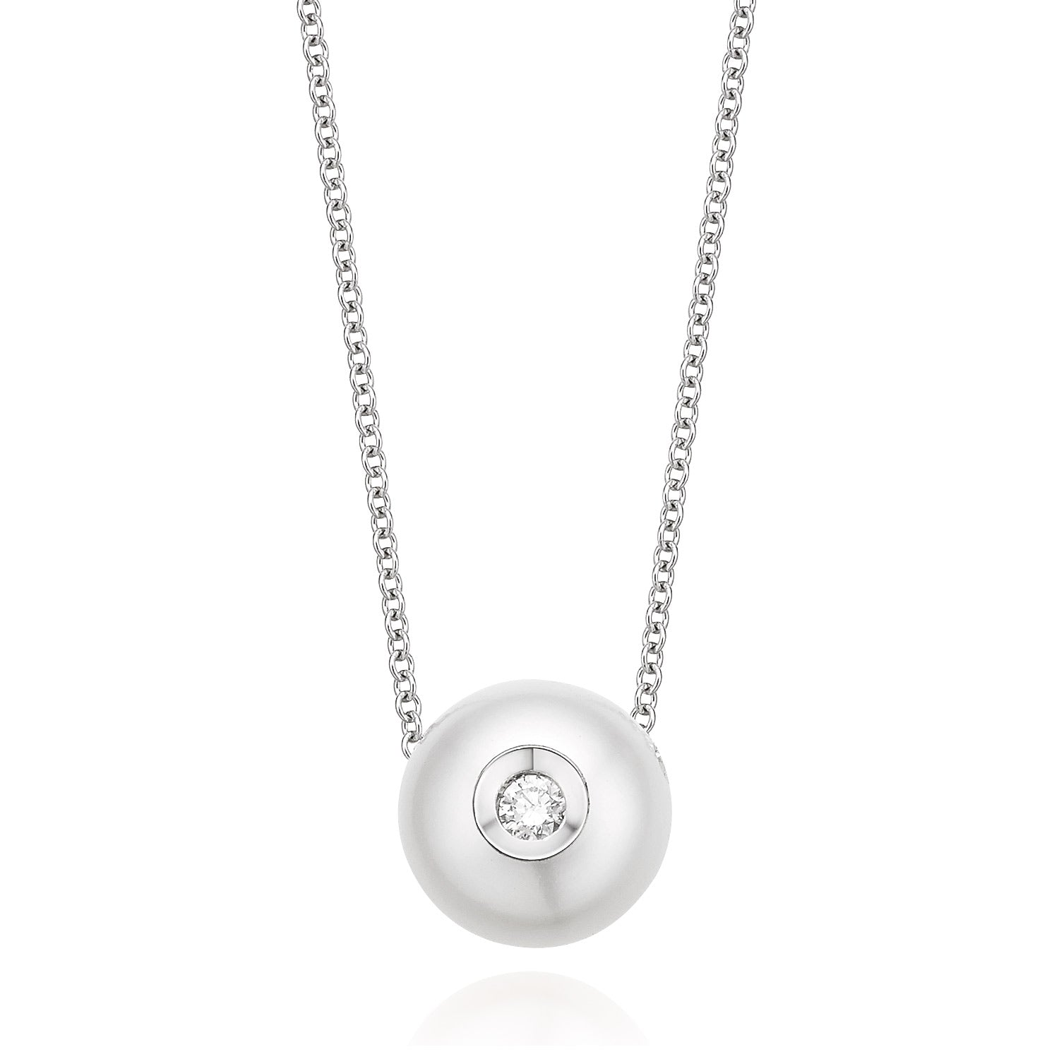 14ct White Gold Fresh Water Pearl & Diamond Set Necklace