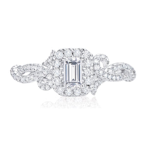 Vera Wang Love 18ct White Gold Emerald & Round Brilliant Cut with 3/4 CARAT tw of Diamonds