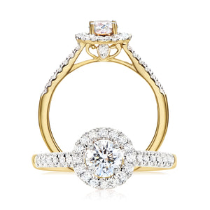 Halo 18ct Yellow Gold Round Brilliant Cut with 3/4 CARAT tw of Diamonds