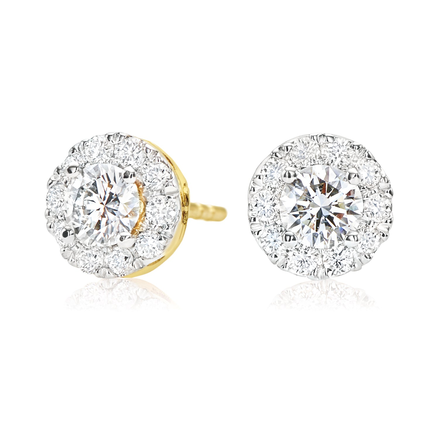 Halo 18ct Yellow Gold Round Brilliant Cut with 0.70 CARAT tw of Diamonds