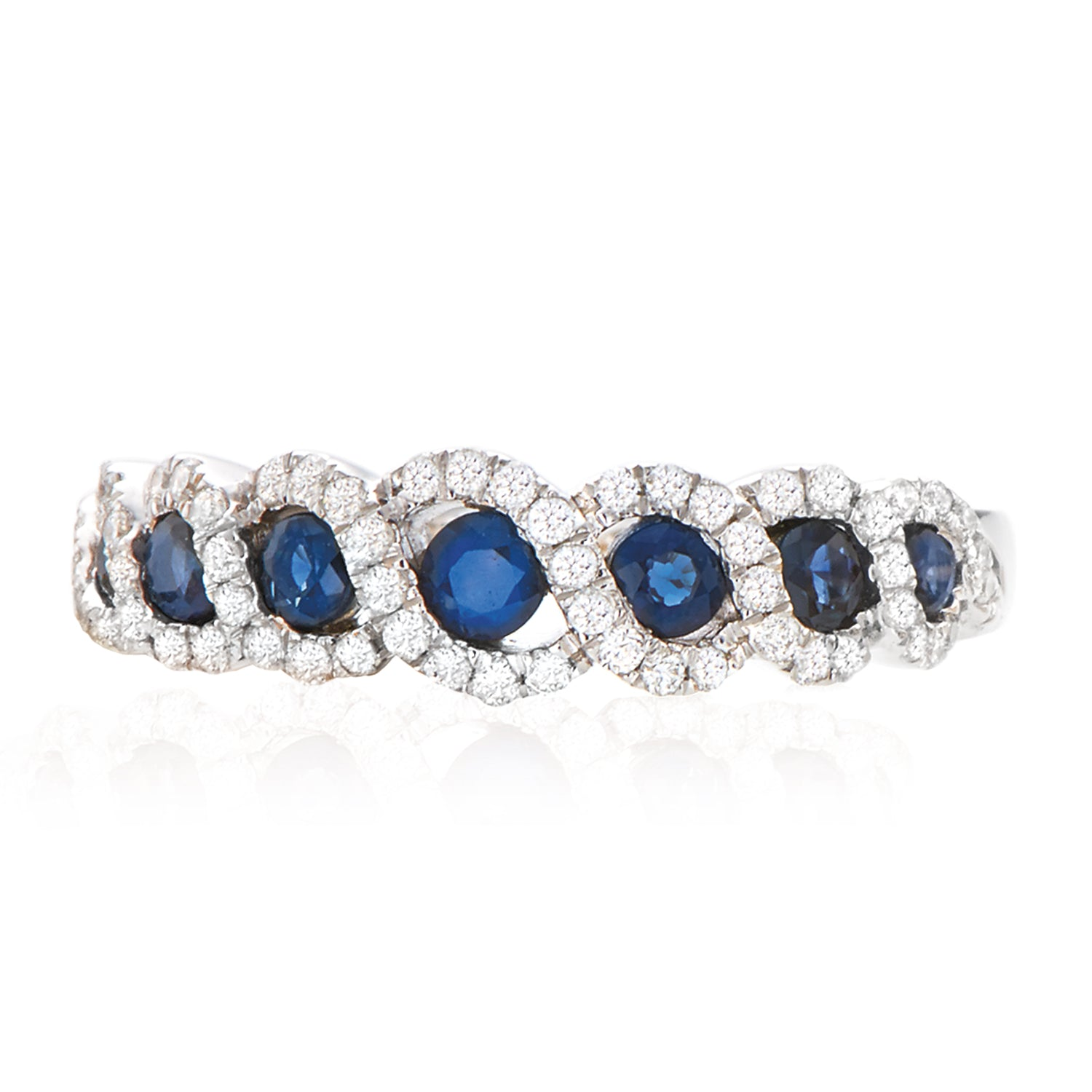 18ct White Gold Round Brilliant Cut Sapphire with 1/4 CARAT tw of Diamonds