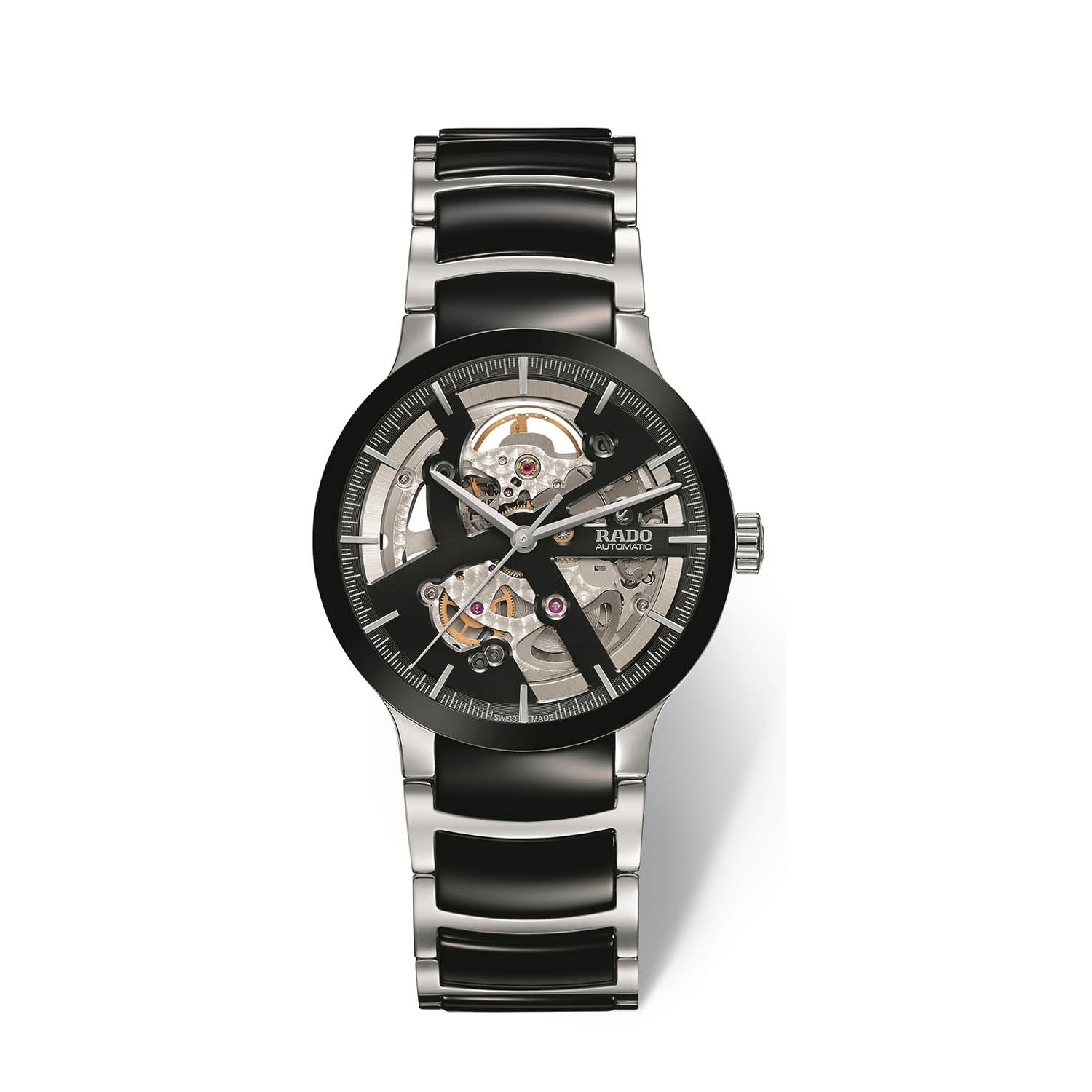 RADO Centrix skeleton, stainless steel bracelet with black high-tech ceramic middle links R30178152