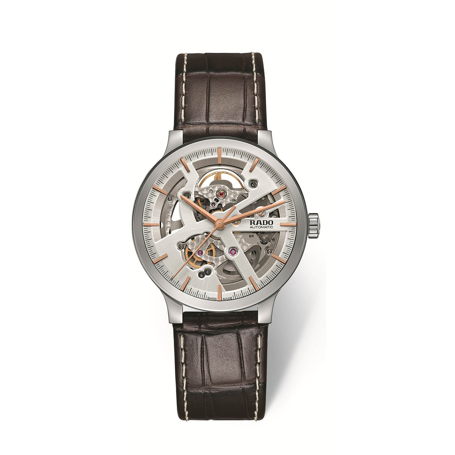 RADO Centrix skeleton watch, leather strap R30179105