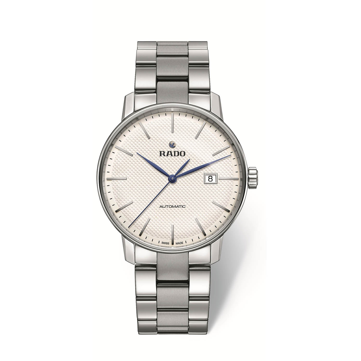 RADO Coupole Classic XLarge watch with 3-Link stainless steel bracelet, white dial with blue hands R22876013