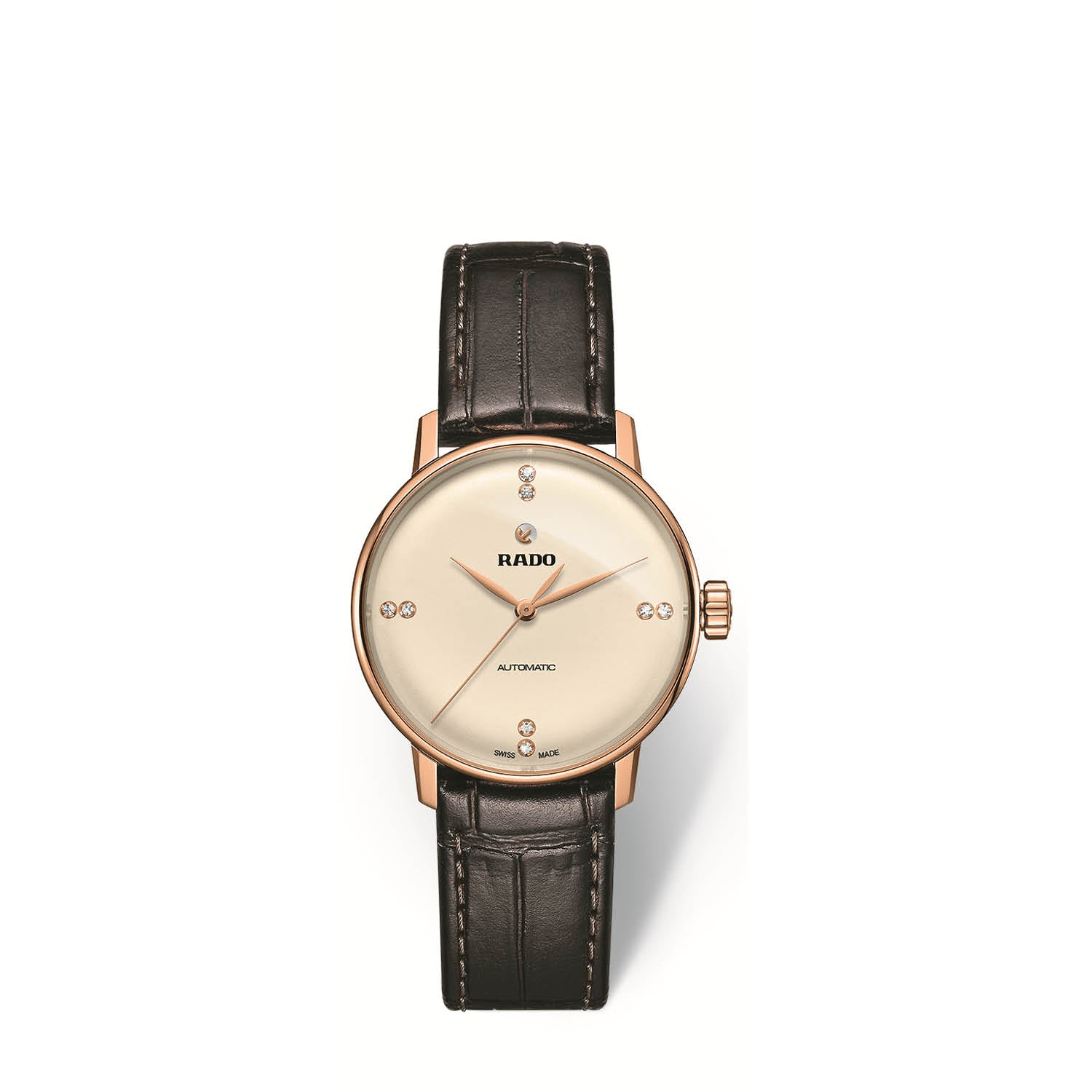 RADO Coupole Classic S, champagne dial with leather strap R22865765