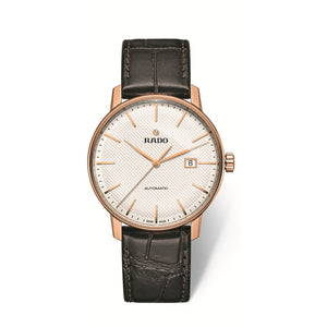 RADO Coupole Classic Xlarge watch, champagne dial with PVD case and a leather strap R22877025
