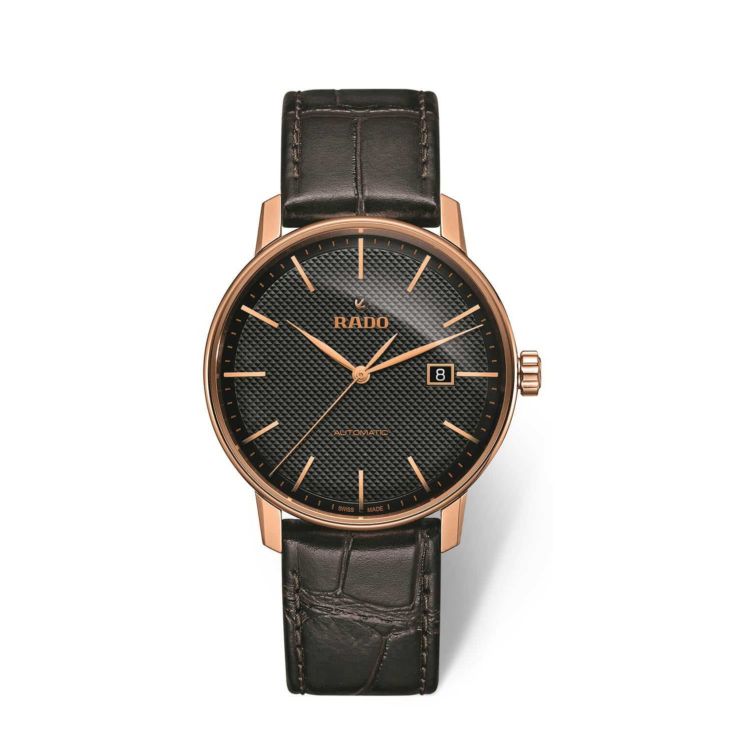 RADO Coupole Classic Xlarge watch, black dial with PVD case and a leather strap R22877165