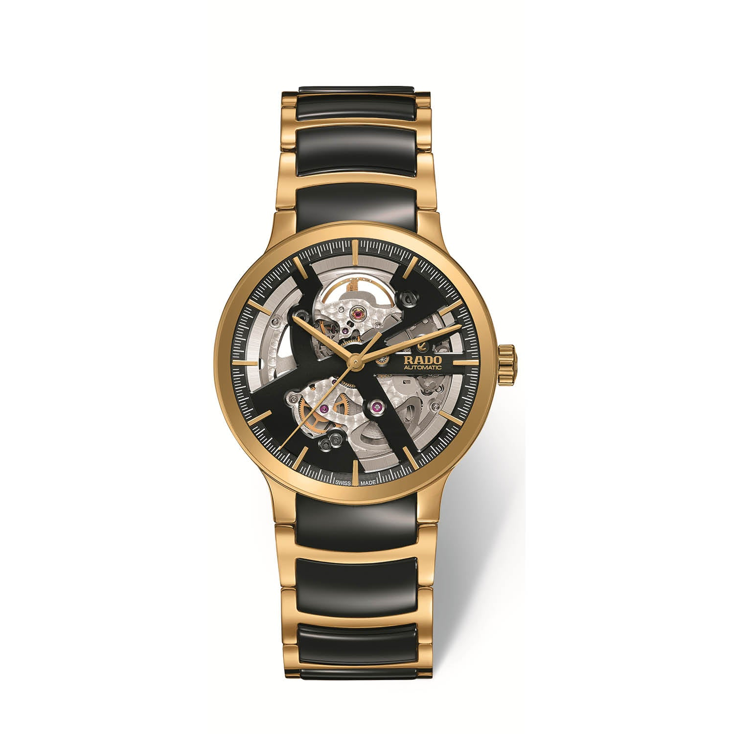 RADO Centrix skeleton watch, yellow gold PVD bracelet with black high tech ceramic middle links R30180162