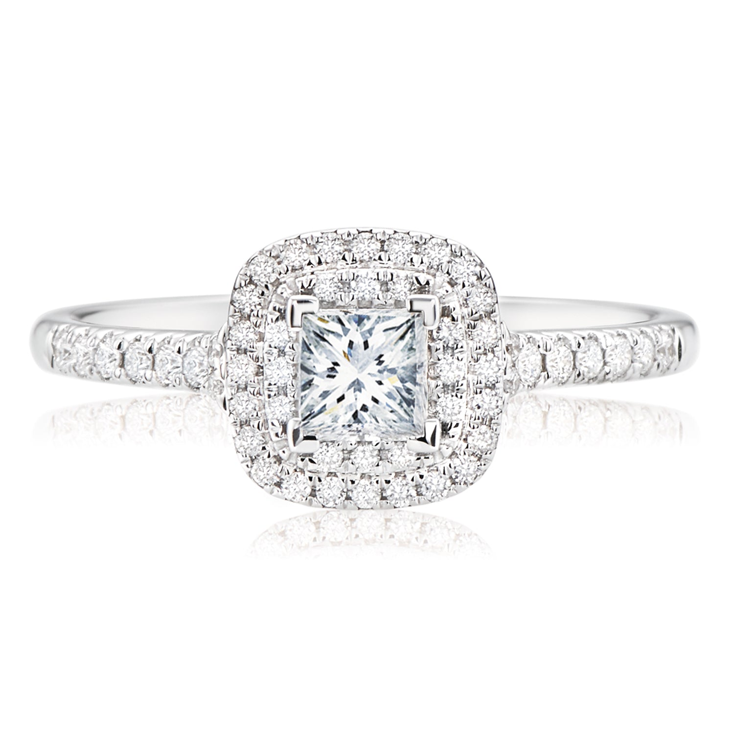 Forevermark 18ct White Gold Princess & Round Brilliant Cut with 1/2 CARAT tw of Diamonds