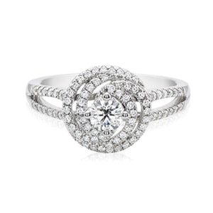 Halo 18ct White Gold Round Brilliant Cut with 0.60 CARAT tw of Diamonds