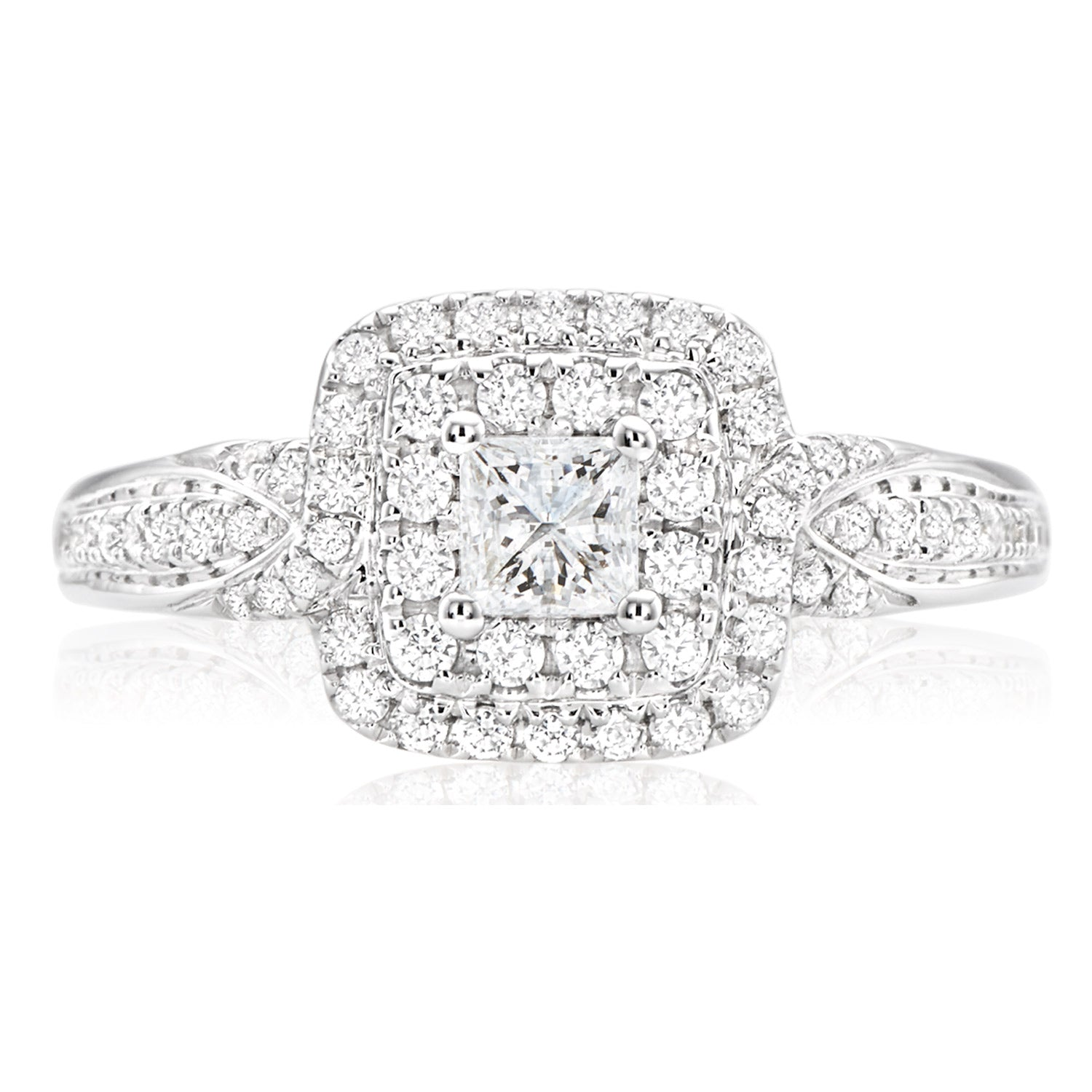 Vera Wang Love 18ct White Gold Princess & Round Brilliant Cut with 0.74 CARAT tw of Diamonds