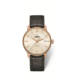 RADO Coupole Classic large watch, champagne dial with a leather strap R22861115