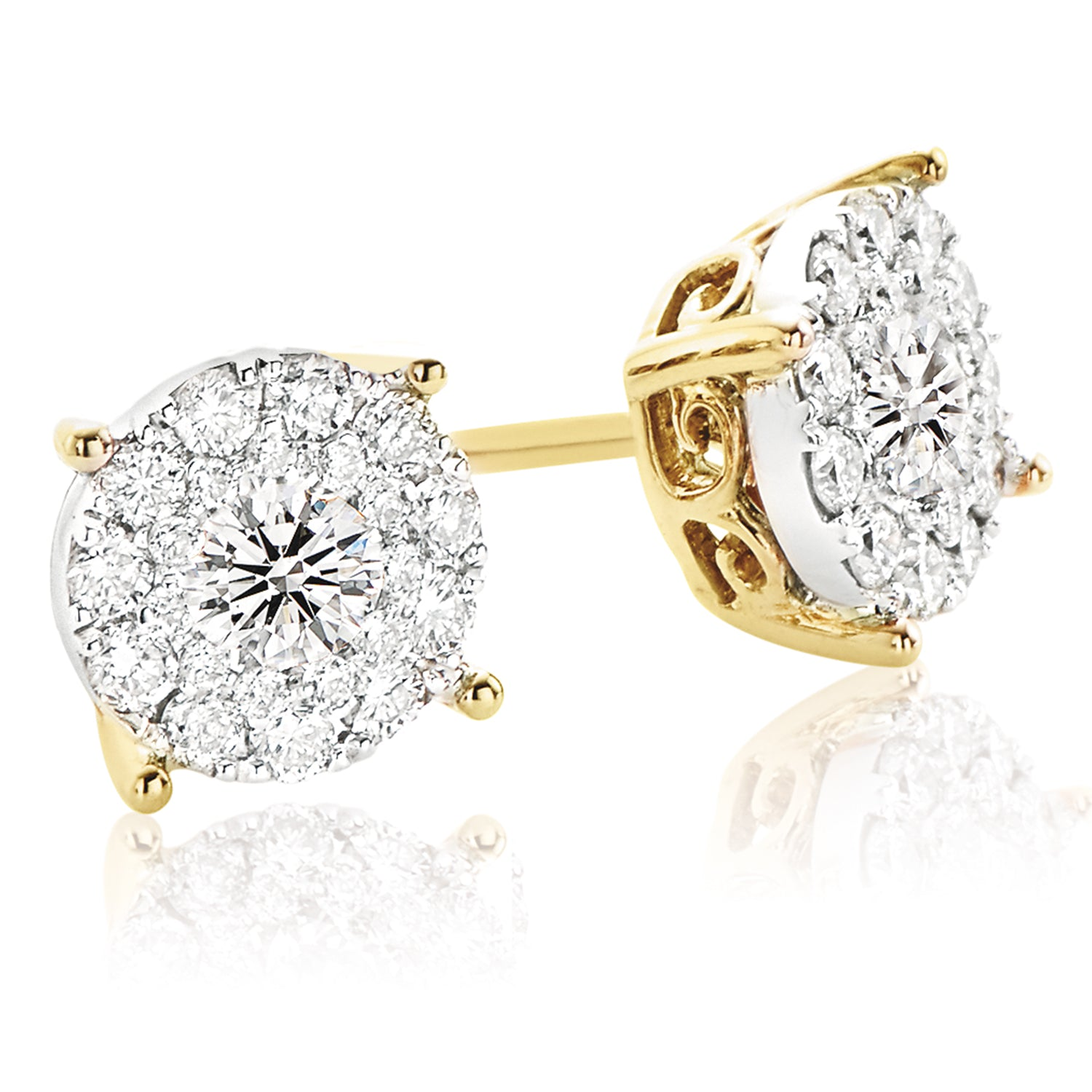 9ct Two Tone Gold Round Brilliant Cut with 1 CARAT tw of Diamonds
