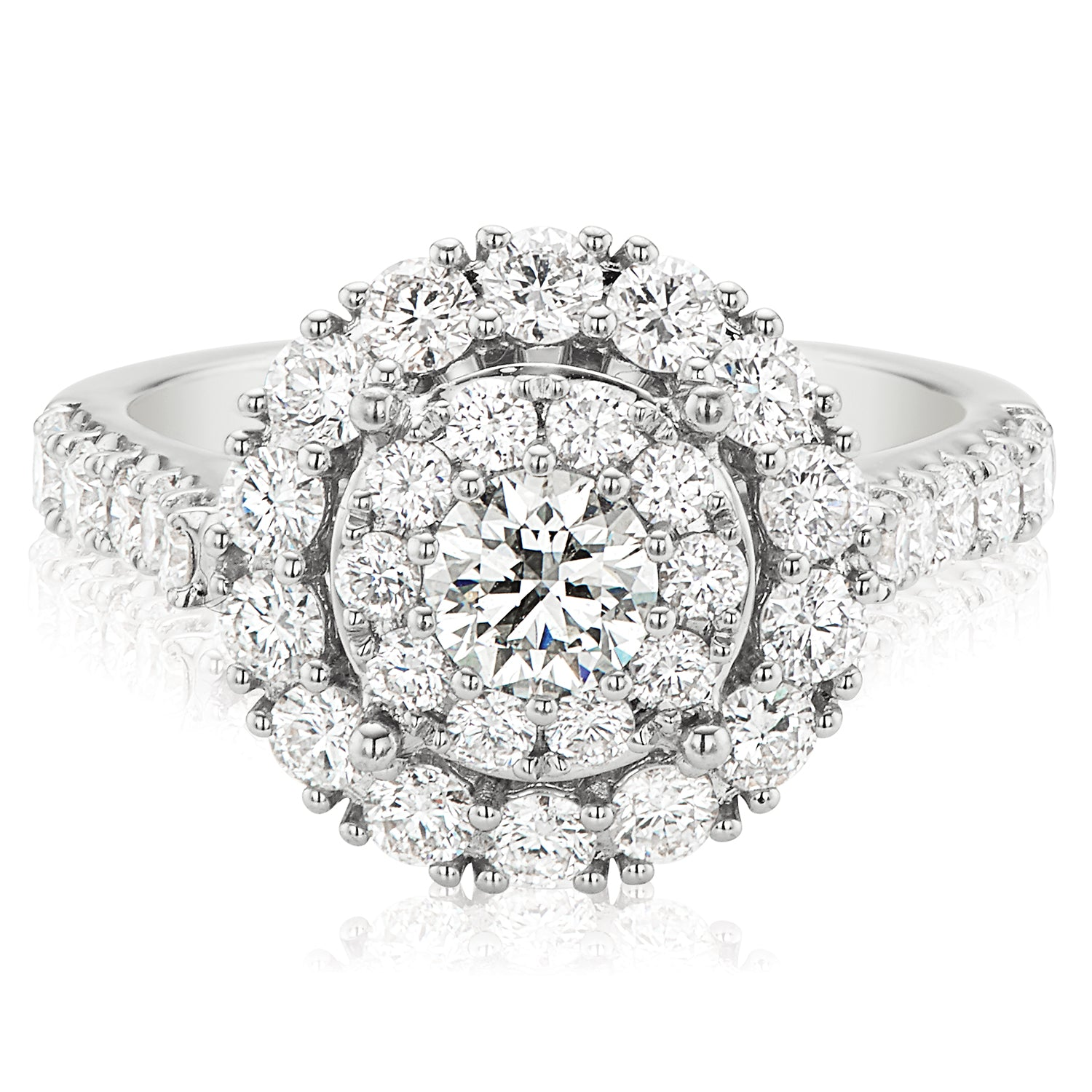 Halo 18ct White Gold Round Brilliant Cut with 1.85 CARAT tw of Diamonds